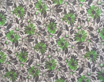 Green and grey fabric yardage /  1.5 yards / AS IS vintage floral fabric