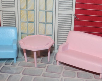 Marx Marxie Mansion  soft plastic tin litho dollhouse furniture Florida Room, three quarter scale soft plastic