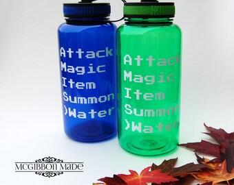 Attack Magic Item Summon Water retro gamer water bottle - video games/gaming, retro gamer/gaming video games addict gift