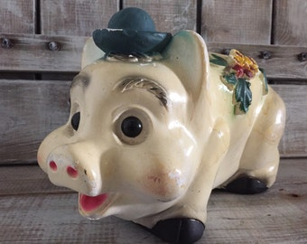 "Chalkware Piggy Bank, 13"" // Vintage Piggy Bank // Chalk Ware Animal, Figurine, Chalkware, Bank, Hippie Pig, Boho Pig, Gypsy Pig Bank"