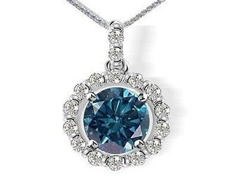 0.71Ct Blue & White Diamond VS 14K White Gold Pendant includes Certification