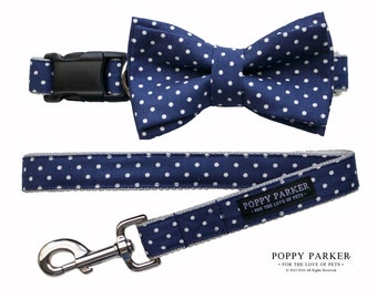 Navy Polka Dot Layered Dog Bow Tie - Optional Matching Dog Collar Dog Leash - Dog of Honor