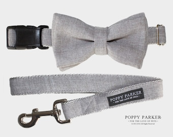 Layered Dog Bow Tie - Light Gray Suit - Optional Matching Leash