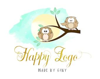 Diseño DIGITAL de buhos Custom Logo, logo lindo buho, buho Ave insignia y marca de agua, diseño gráfico de buho, niños de la historieta insignia, buho Ave insignia lindo