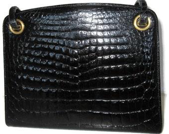 Vintage House of Grimaldi Saks Crocodile Frame Handbag Purse Mint!