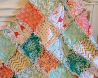 Baby Quilt, Tribal Pink Coral Rag Quilt Aqua Turquoise Gold Arrows Baby Girl Shabby Chic Crib Bedding Blanket A Shot In Water