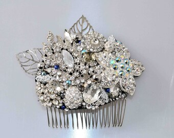 Swarovski crystal Silver White & Blue Pearl Classic Vintage Gatsby Bridal Hair Comb Piece Slide fascinator - My Something Blue!