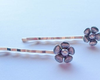 PURPLE freshwater PEARL hair bobby pins with antique silver FLOWERS