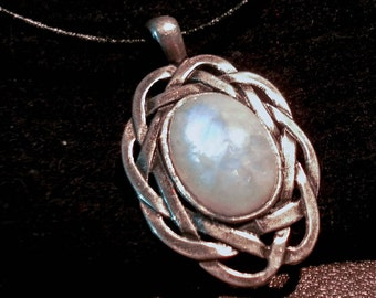 HUGE Rainbow Moonstone PEWTER CELTIC pendant on Leather cord
