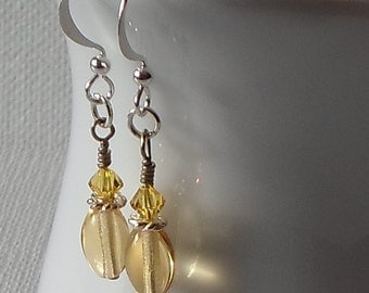 Sale - Hand Made Silver Tone Earrings Pale Gold Swarovski Components & Beads
