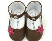 """Chocolate and Pink sparkle blossom leather ankle-strap shoes for 16"""" Sasha dolls"""