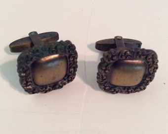 Brass cuff links 1/2 in and tie tack 1/4 in set