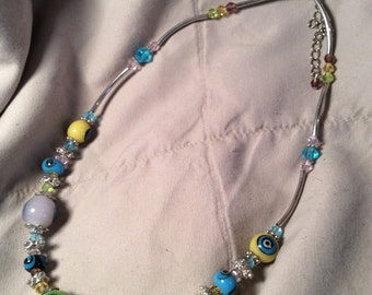 Glass beaded necklace 16 in