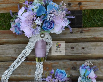artificial flower wedding bridal bouqet blue colorful rose orchid balloonflower lavender