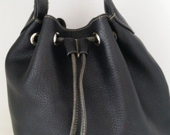 Vintage A. Giannetti Leather Bucket Bag, Drawstring Leather Bucket Bag, A.Gannetti Black Leather Bucket Bag. (SALE SALE SALE)