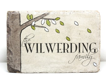Personalized Last Name Stone. 6x9 Garden Stone. Family Name Stone. Rustic Garden Decor Wedding Anniversary Gift. Entry Marker.