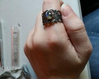 Translucent circle labradorite ring/ adjustable base thumb/ring finger/index finger/middle finger