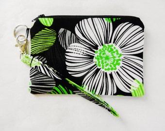 Green and Black Flower Zippered Wristlet Purse