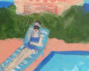 By the Pool, original signed painting