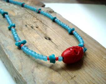 Cinnabar and Turquoise Beaded Necklace Summer Jewelry December Birthstone Beachy Asian Style Choker Aqua and Red Gifts Under 30 OOAK Boho