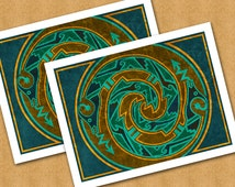 AVANYU DESIGN - The Horned Serpent - Set of 2 Note Cards - Original Design by Linda Henry (SWNC001)
