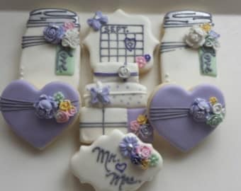 Save the date cookies, bridal shower sugar cookies, engagement party cookies, lavender sugar cookies