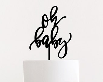 Oh Baby Cake Topper | Baby Shower Cake Topper | Party Decorations | cake topper | Laser Cut Wood Topper