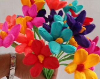 Dia de Los Muertos, 10 Paper Flowers, Mexican Flowers, Crepe Paper Flowers, Wedding Decorations, Party Decor, Altar Flowers, Hawaiian Luau