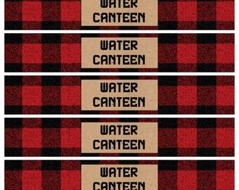 Lumberjack Theme Water Bottle Labels