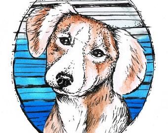 Dog  ink  watercolor art print