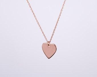 Rose Golden Necklace Rose Gold Heart Love Chain Hearts  Rose Gold Plated Chain Gold Plated