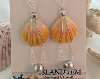 ON SALE Sunrise Shell and fresh water pearl sterling silver earrings