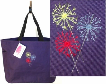 Colorful Fireworks Sparklers Celebration Tote Bag + Lettering Monogram