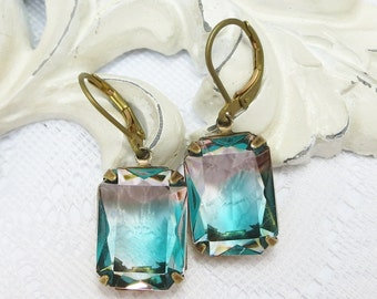 Tourmaline Green Rose Rosaline Glass Earrings Vintage Rhinestone Ear Dangles