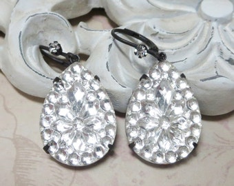 Crystal Earrings Ear Dangles Crystal Clear Teardrops Elegant Hollywood Glam