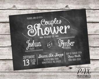 Printable Couples Shower Invitation - Chalkboard Couples Shower, Bridal Shower, Wedding Shower, Lingerie Shower