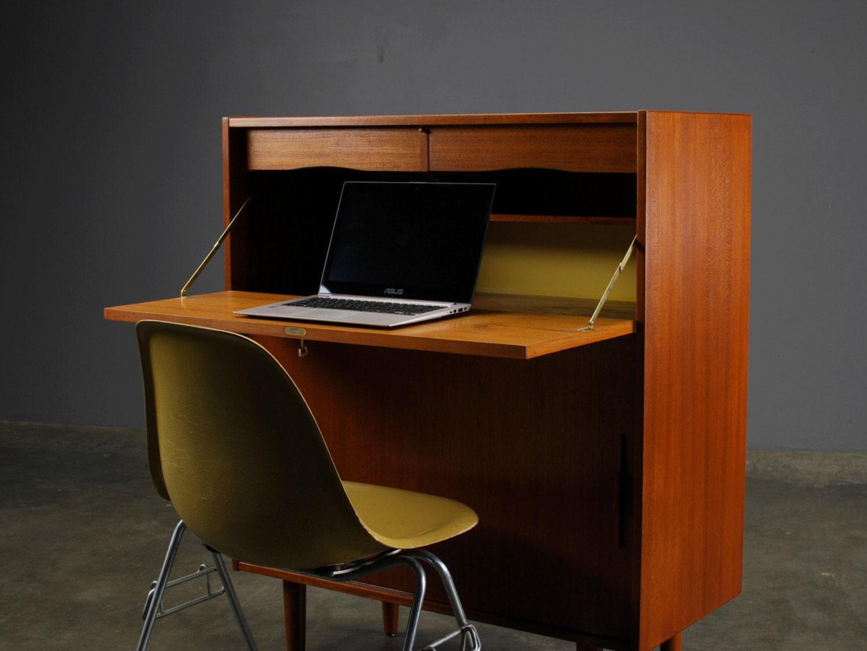 mid century modern secretary desk cabinet teak. Black Bedroom Furniture Sets. Home Design Ideas
