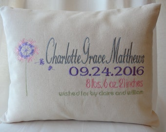 Personalized Baby Girl Gift - Birth Announcement Keepsake Pillow - Monogrammed Baby Girl - Perfect Nursery Gift