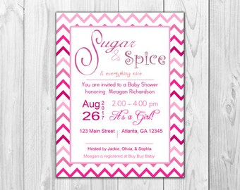 Sugar and Spice | Baby Shower (8 Invitations and 8 Envelopes)