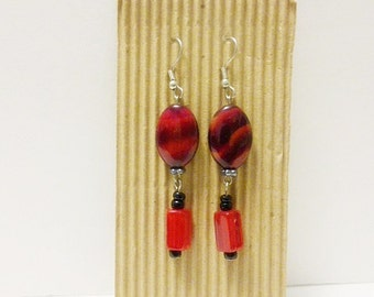 A Red and Black Pair of Dangle Earrings