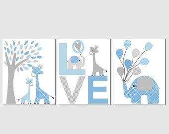 Blue and grey elephant and giraffe Nursery Art Print Set, Kids Room Decor, tree, balloons, love, light blue, french blue -UNFRAMED