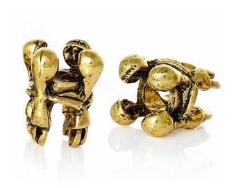 Family Embrace, Hugging, European Charm Bead For All Large Hole Charm Bracelet And Necklace Chain. In Gold tone.