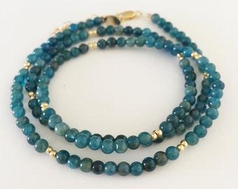Apatite & Gold Filled Beaded Bracelet