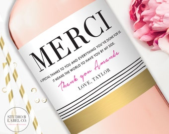 Hostess Gift Wine Labels Thank You Gift Label Baby Shower