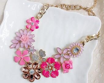 Pink Flower Statement Necklace, Bib Necklace, Bridesmaids Necklace, Fashion Party Necklace