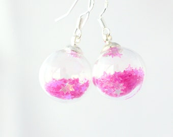 Fun pink glass ball earrings, glittery sparkly earrings, evening dangle earrings, star jewelry