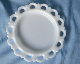 Vintage Milk Glass Dish, Anchor Hocking Old Colony Lace Edge Dish, Scalloped Edge