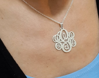 ON SALE 50% Personalized Monogram necklace - Silver Initial Necklace - Sterling Silver