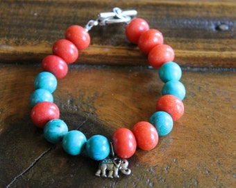 Safe Sojourn Coral Turquoise Bracelet