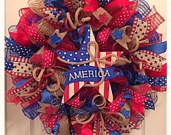 America Patriotic Red Blue and Burlap Star Deco Mesh Wreath/Patriotic Star Wreath/4th Of July Wreath